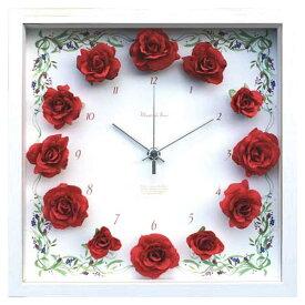 薔薇 壁掛 掛け時計 ローズ 時計 おしゃれ 造花 デザイナーズクロック ウォールクロック 壁掛け アートフラワークロック デザイナーズ 北欧 静か かわいい インテリア クロック 掛時計 壁面 ギフト 母の日 フラワー バラ 赤 CRC51694 Flower Clock Rose Red