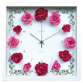 薔薇 壁掛 掛け時計 ローズ 時計 おしゃれ 造花 デザイナーズクロック インテリア 壁掛け アートフラワークロック ウォールクロック 北欧 静か デザイナーズ クロック 掛時計 ギフト 母の日 フラワー バラ 赤 ピンク CRC51695 Flower Clock Rose Wine&Pink