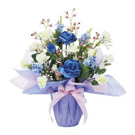 観葉植物 造花 光触媒 アートフラワー フェイク フラワー 人工植物 おしゃれ 玄関 リビング ブルー バラ