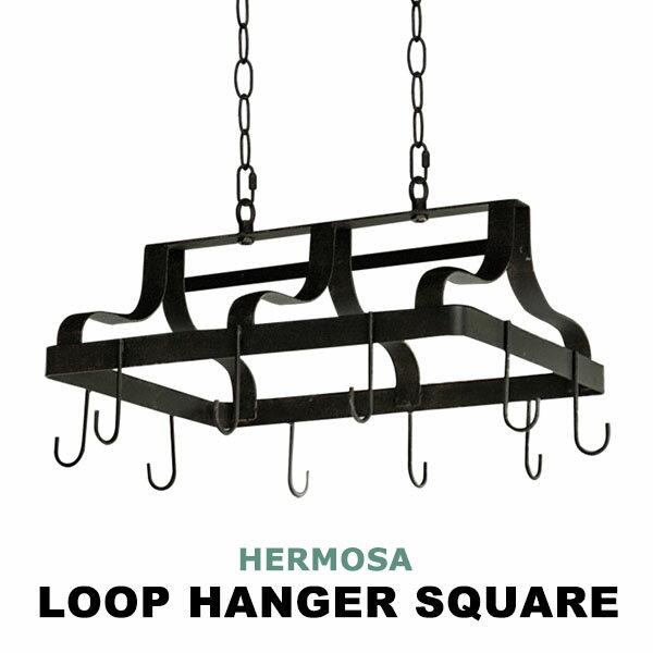 ハンガーフック ドライフラワー アンティーク 飾る 植物 フック 吊り下げ ディスプレイ 収納 スクエア スチール ブラック 黒 エアプランツ 長方形 雑貨 おしゃれ GD-008 LOOP HANGER SQUARE