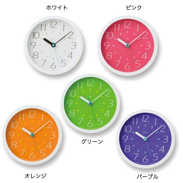 掛け時計 壁掛け時計 かわいい 見やすい アナログ時計 ウォールクロック 置き時計 アナログ おしゃれ 時計 壁掛け 置き 置時計 Fruits clock PC10-02S ホワイト ピンク オレンジ グリーン パープル 掛時計 寝室 北欧 卓上 デザイナーズ Lemnos レムノス 音がしない 連続秒針