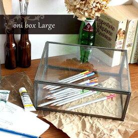 コレクションケース ガラス ガラスケース 洋風 コレクション 家具 ショーケース アンティーク フィギュア ディスプレイボックス ふた付き アクセサリー ディスプレイ 透明 アクセサリーケース ボックス おしゃれ スチール コレクションボックス oni box L
