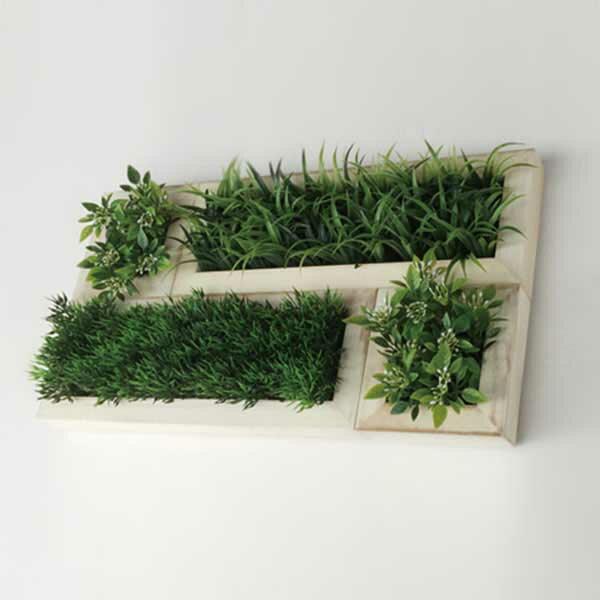 観葉植物 壁掛け アート 造花 人工観葉植物 フェイクグリーン ウォールアート ウォールディスプレイ ウォールインテリア ウォールデコ おしゃれ インテリア ミニ アートパネル 小型 グリーン ZGD-51805 Deco Green L4/WH