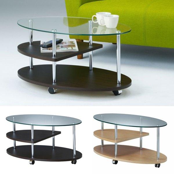 センターテーブル オーバル ガラステーブル 丸 コーヒーテーブル ガラス テーブル 棚 キャスター 円形 幅80cm ガラス天板 ローテーブル 棚付き サイドテーブル キャスター付き ラック スチール リビングテーブル ディスプレイ ワゴン 収納 モナ DH-380 ブラウン ナチュラル