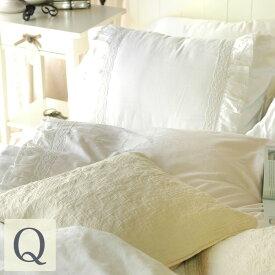 ベッドカバー シャビーホワイトフリルベッドカバー4点セット【クイーン】(ベッドスプレッド)ベットカバー 2ピローケース ベッドスカート ベッド |フリル ベットスカート クイーンサイズ スカート シャビーシック ホワイト 白 姫系