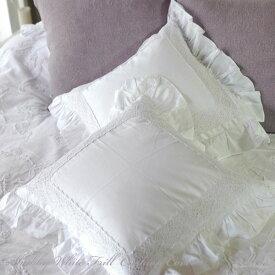 シャビー ホワイトフリル クッション カバー45×45cm コットン(綿)100% シャビーシックな白いクッションカバー/ フリル クッション リネン クッションカバー 枕カバー