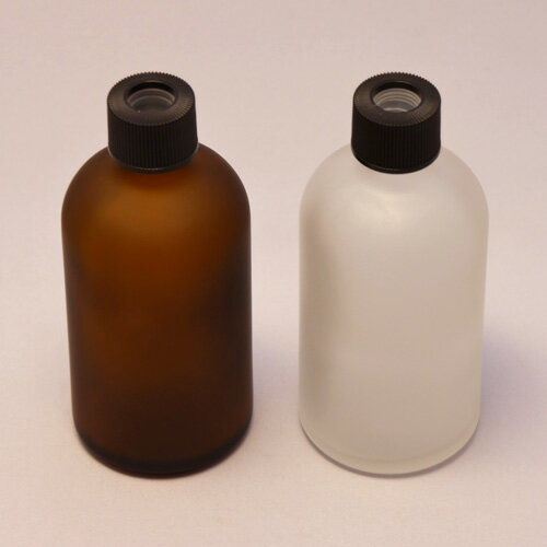 100ml 遮光瓶 内蓋付 穴空きキャップ フロスト加工 ガラスボトル ディフューザー用キャップ (茶色)or(半透明)◆スティック/置き型/リード/詰め替え