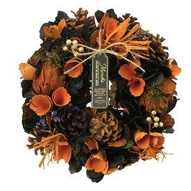 リース ハロウィン 秋リース 造花リース ドライフラワー花輪 ナチュラルリース 25cm 秋色カラー 造花 玄関オブジェ ウォールディスプレイ ウォールデコレーションアートウォール 壁飾り 壁掛け おしゃれハロウィンリース オータムオレンジM