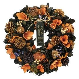 リース ハロウィン 秋リース 造花リース ドライフラワー花輪 ナチュラルリース 35cm 秋色カラー 造花 玄関オブジェ ウォールディスプレイ ウォールデコレーションアートウォール 壁飾り 壁掛け おしゃれハロウィンリース オータムオレンジL