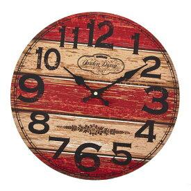 wall clock 壁掛け時計 掛け時計 掛時計 時計壁掛け 壁飾り ウォールディスプレイ 北欧風オブジェ 33×33 φ33cm アナログ アラビア数字アンティーク風 赤系 西海岸インテリアおしゃれウォールクロック ラウンド レッドメーカー直送商品