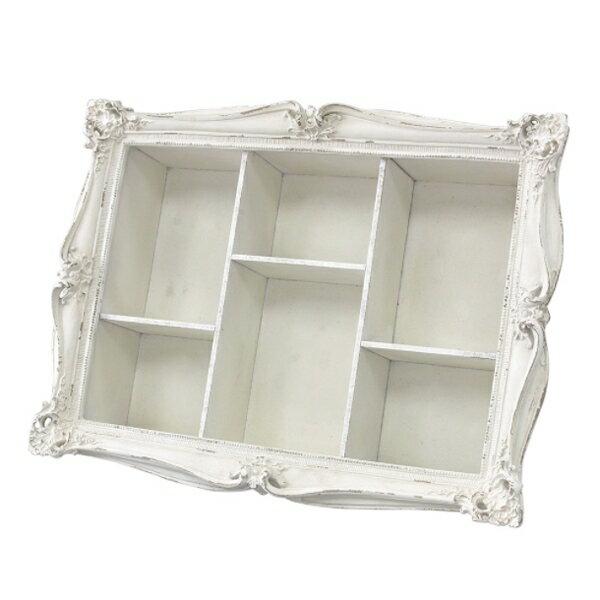 壁掛け 壁飾り 白 ホワイト 小物入れ 6BOX 棚シャビー アンティーク風 エレガント おしゃれヨーロッパ風 アールヌーボー風スパイス/SPICE フレームボックス