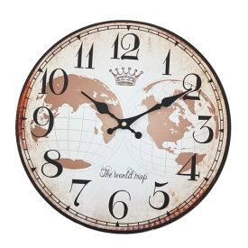 wall clock 壁掛け時計 掛け時計 掛時計 時計壁掛け 壁飾り ウォールディスプレイオブジェ 33×33 φ33cm アナログ アラビア数字アンティーク風 北欧風 茶系 西海岸インテリアおしゃれウォールクロック ラウンド ワールドマップメーカー直送商品