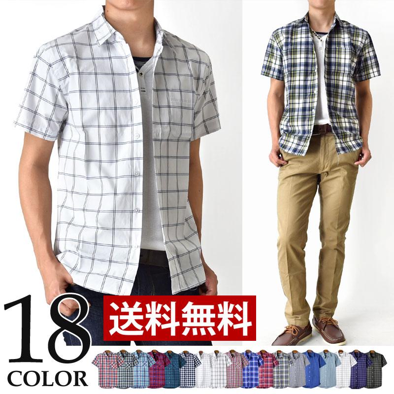 チェックシャツ シャツ メンズシャツ 半袖 メンズ ブロードチェック 【メール便送料無料《M1.5》】【1-Q7F】