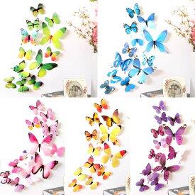 蝶の立体ステッカー、羽を立てて設置するので立体的に。誕生日やパーティーでのデコ、商品のディスプレイにも。黄色、青、緑、ピンク、紫の5色あり。テープ付き