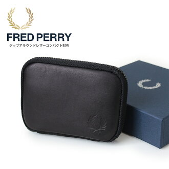 Made in Japan (f19851) made in FRED PERRY (Fred Perry) compact wallet cowhide around zip wallet Lady's men man and woman combined use Japan