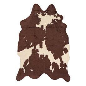ラグ マット フェイクファー ワンランク上のお部屋に 動物柄 カウ柄 牛柄 おしゃれ 存在感 かっこいい ブラウン ブラック