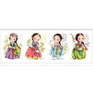 刺繍キット 刺繍 クロスステッチ 四季少女 初心者 図案印刷 指ぬき 糸通し付き 壁アート 壁飾り