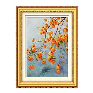 刺繍キット 刺繍 クロスステッチ 柿 初心者 図案印刷 指ぬき 糸通し付き 壁アート 壁飾り