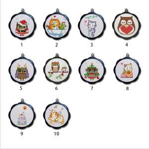 刺繍キット 刺繍 クロスステッチ フクロウ 猫 初心者 図案印刷 指ぬき 糸通し付き 壁アート 壁飾り