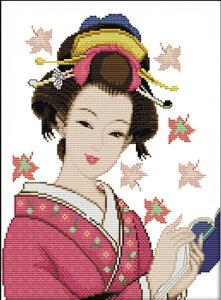 刺繍キット 刺繍 クロスステッチ 美人1 初心者 図案印刷 指ぬき 糸通し付き 壁アート 壁飾り