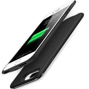 iPhone 6plus/6s plus/7plus/8plus対応 バッテリーケース 充電ケース バッテリー内蔵ケース 大容量 6500mAh 薄型 ケース型バッテリー モバイルバッテリー カバー ブラック 5.5型