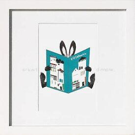 アートパネル アートポスター 絵画 インテリア ポスター タペストリー 壁掛け アートフレーム ウォールアート アートボード モノトーン モノクロ モダン 花 北欧コロボックル Book rabbit_a