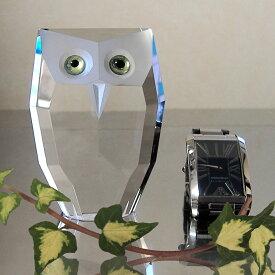 ガラスのフクロウ 開運フクロウ クリスタル ガラス インテリア ガラスアート オブジェ モダン ガラス細工 おしゃれインテリア ふくろう フクロウ 置物 モチーフ アニマル 置き物 動物 ペーパーウェイト 玄関 クリスタルガラス おしゃれ かわいい プレゼント ギフト