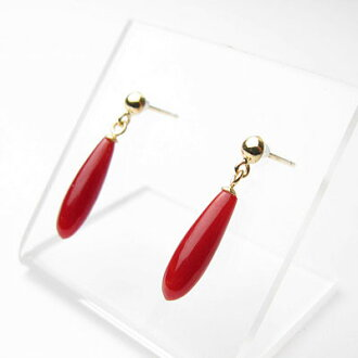 Japan produced blood red coral soup-bra-K18 earrings