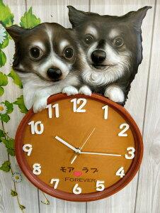 ワンちゃん時計 3D リアル 立体 オーダー ペット 時計 似顔絵 愛犬 犬グッズ 壁掛時計 かわいい時計 似顔絵時計 立体時計 手作り時計 プレゼント サプライズ オーダーメイド時計