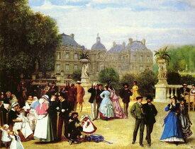 油絵 Gluck Louis Theodore Eugene_パリ・ルクセンブルグにて