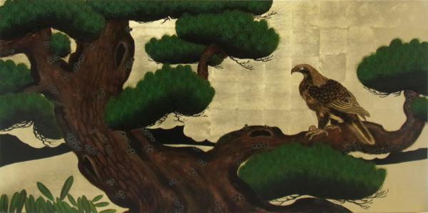 漆絵 狩野探幽の名作「松に鷹図」