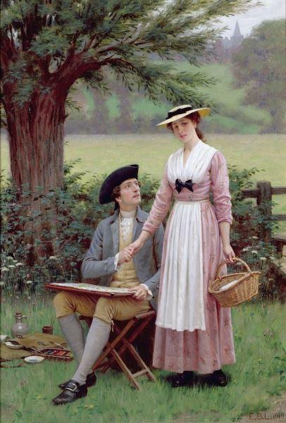 油絵 Edmund Blair Leighton_ バーレー卿、テニスン