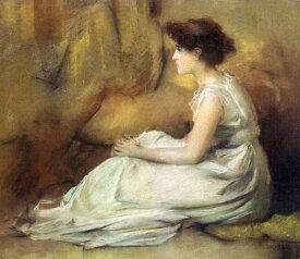 油絵 Francis Coates Jones_ 白衣装の女