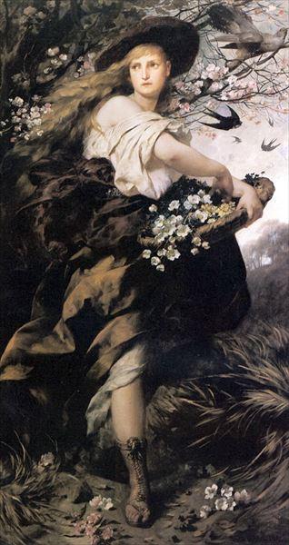 油絵 Ferdinand Keller_花の女神フローラ