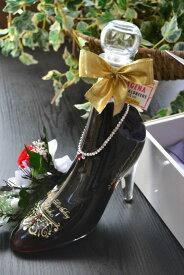 シンデレラシューレッド カシス 誕生日プレゼント 名入れ 彫刻 スワロフスキーデコ仕上げ!ブリザーブドフラワー付き 彫刻ボトル 名入れボトル ガラスの靴 リキュール シンデレラシュー名入れ 送料無料