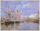 複製画 送料無料 プレミアム 学割 絵画 油彩画 油絵 複製画 模写ウジェーヌ・ブータン「ドービル、旗で飾られた港の船…