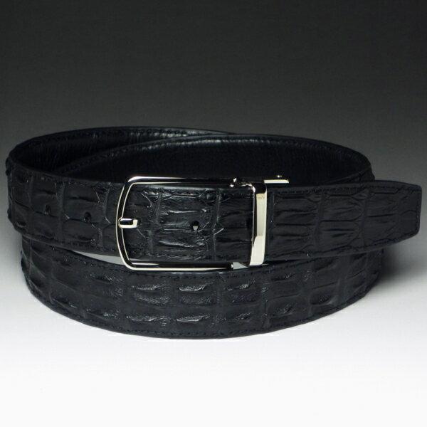 本革クロコダイルベルト・背・テールの革を使用ブラック(黒)