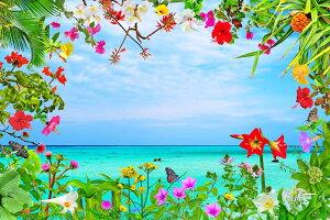 【送料無料】風景写真パネル 沖縄 宮古島列島 下地島 17END横ビーチと花々 ボタニカル 花 海 ウォールデコ アートパネル グラフィック インテリア 風水 プレゼント お祝い ギフト 贈答品 oki-10
