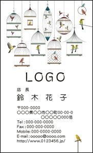 【送料無料】カラーデザイン名刺 ショップカード 印刷 作成【100枚】ロゴ入れ可 鳥かご ナチュラル かわいい torikago001