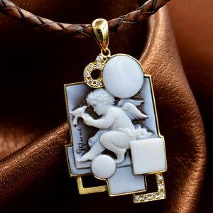 カメオペンダントトップ 18金枠ダイヤモンド付き 天使のカメオ彫刻が美しい チロガリオーネ作 レザーネックレス付き 品質保証書/カメオ作家保証書付き カメオデザイン手提袋付