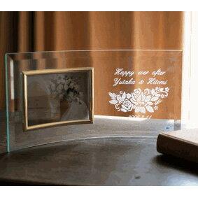 【名入れ無料】結婚記念・お誕生日・長寿・退職など気持ちを伝える記念品の贈り物にフォトフレーム・写真立てをプレゼントしてみませんか。【フォトフレーム横型 ツインバラ柄】【楽ギフ_名入れ】