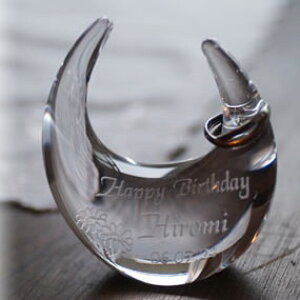 【名入れ】リングスタンド(マーガレット柄)クリア 【指輪置き リングピロー ガラス 贈り物 記念品 オリジナル ギフト プレゼント おすすめ おしゃれ オシャレ お洒落 友達 友人 ウェディ