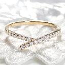 ◆【ピンキー対応】K10YG/WG/PG 細身 ダイヤモンド リングおしゃれ シンプル ダイヤ 10金 細身 華奢 エタニティ イエ…