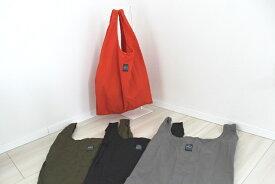 OMCC エコバッグ Mサイズ ショッピングバッグ  ナイロン素材 撥水加工 おしゃれエコバッグ シンプル 男女兼用 ユニセックス 軽量 ネコポス発送可能 OMC-SB0002オレンジ/オリーブ/グレー/ブラック