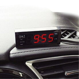 12/24V車対応 時計 電圧計 温度計 電池交換不要 マルチクロック AK-195 カシムラ