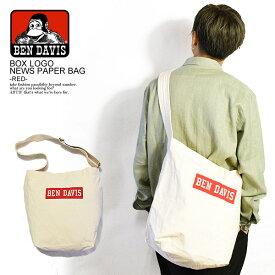 BEN DAVIS ベンデイビス NEWSPAPER SHOULDER TOTE BAG -WHITE/RED- メンズ バッグ 鞄 カバン ショルダートートバッグ おしゃれ かっこいい ストリート bendavis ベンデービス