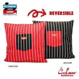 COOKMAN クックマン CUSHION POCKET COVER REVERSIBLE -STRIPE BLACK & RED- メンズ クッションカバー リバーシブル ストリート おしゃれ かっこいい カジュアル インテリア cookman