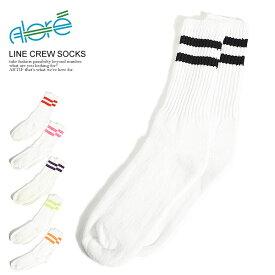 ALORE アローレ LINE CREW SOCKS メンズ 靴下 ソックス ラインソックス クルーソックス 1P アメリカ製 ストリート おしゃれ かっこいい カジュアル ファッション alore