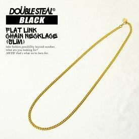 DOUBLE STEAL BLACK(ダブルスティールブラック) FLAT LINK CHAIN NECKLACE (SLIM)【メンズ レディース ネックレス チェーン】ストリート メール便可