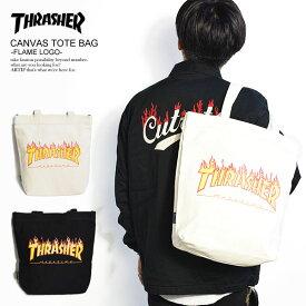 THRASHER スラッシャー CANVAS TOTE BAG -FLAME LOGO- メンズ バッグ トートバッグ カバン 鞄 FLAMEロゴ ストリート ファッション thrasher